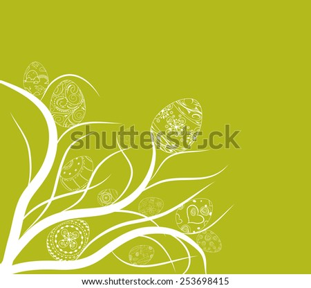 easter eggs ornament doodle background - stock vector