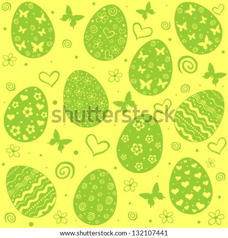 Easter eggs seamless pattern. Vector Illustration - stock vector