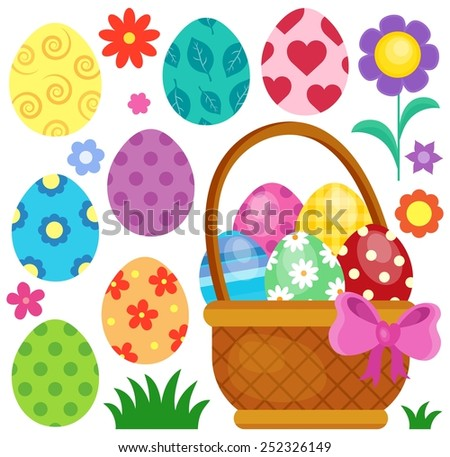 Easter eggs thematic image 2 - eps10 vector illustration. - stock vector