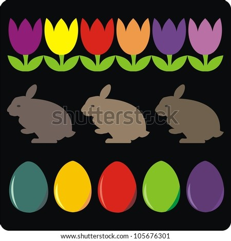 easter eggs tulips rabbits