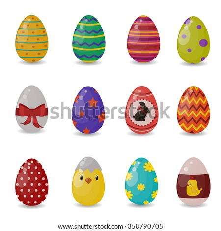 Easter eggs vector flat syle icons isolated on white background. Easter eggs icons vector. Easter eggs isolated, Easter holidays flat design sign. Easter, eggs, holidays greeting. Vector easter eggs - stock vector