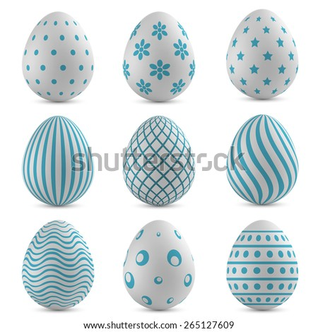 Easter eggs vector set with blue patterns. - stock vector