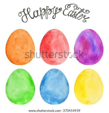 Easter eggs Watercolor set.Vector easter eggs,title.Design elements for background, banner,holiday card design.Hand painting artistic texture.Colored vector template.Handwriting text - stock vector