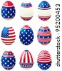 Easter eggs with american flag. Set of easter eggs with stars and stripes at style of USA flag. - stock vector