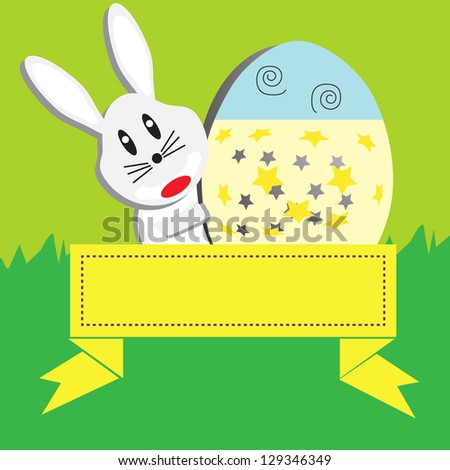 Easter eggs with banner - stock vector