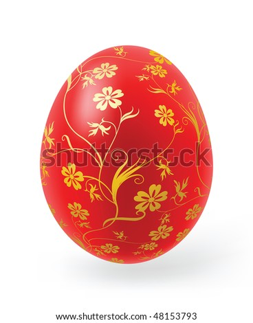 Easter eggs with decor elements on a white background - stock vector