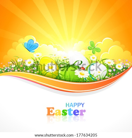 Easter eggs with flowers and grass on a background of the sunny sky. Vector illustration - stock vector