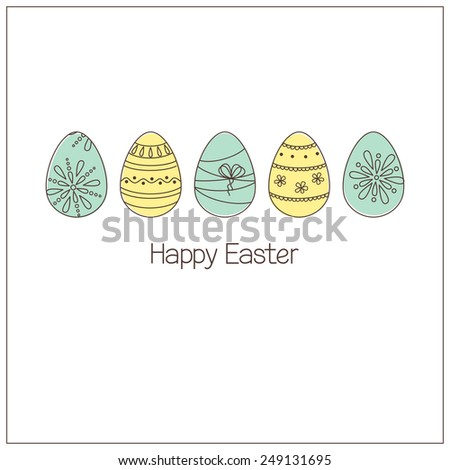 Easter eggs with ornaments in doodle style - stock vector