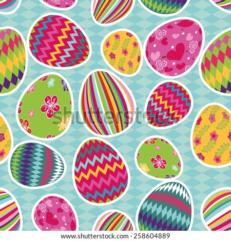 Easter eggs with ornaments in seamless pattern set.Bright cute cartoon set.Vector background,wallpaper,fabric,backdrop - stock vector