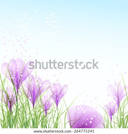 Easter eggs with pink crocuses - stock vector
