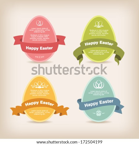 Easter eggs with ribbon - stock vector