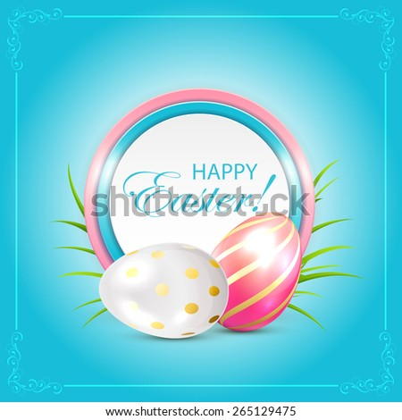 Easter eggs with round card on blue background, illustration. - stock vector