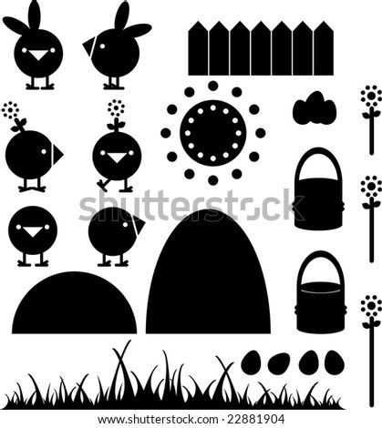 Easter elements like little chickens, flowers, a wall, mountains, rabbits hats, easter eggs, sun and a basket - stock vector