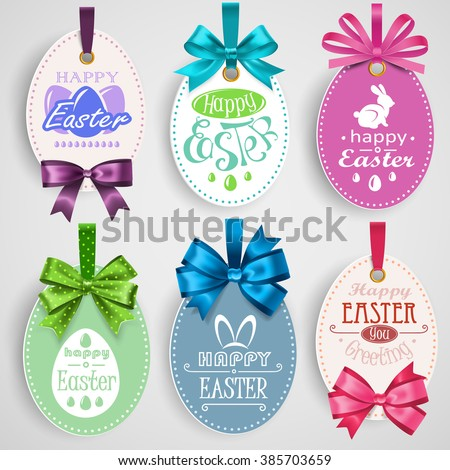 Easter emblem with bows - stock vector