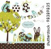 Easter Extravaganza. Big Easter set with cute chocolate rabbit, colourful eggs, chicks, Easter tree and a Clothesline with letters on it. Ideal for scrap-booking - stock vector