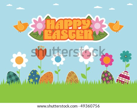 easter flower garden with birds carrying happy easter sign
