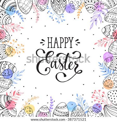 Easter frame with easter eggs hand drawn black on white background. Decorative frame from eggs. Easter eggs with colorful leaves and watercolor dots. - stock vector
