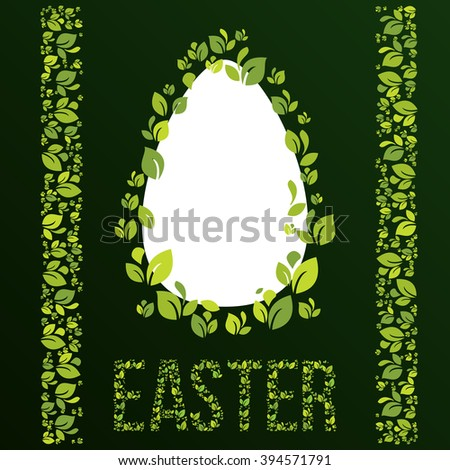 Easter frame with easter eggs in ecological style... Decorative frame from green leaves. Vector elements. - stock vector