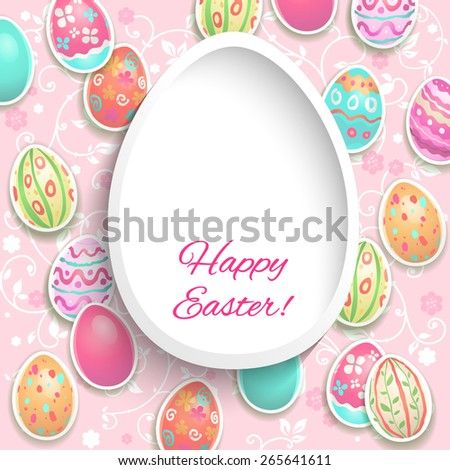 Easter frame with painted holiday eggs with place for text - stock vector