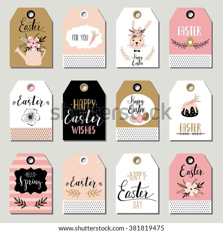 Easter gift tags with cute Easter bunny, watering can with flowers and Easter greetings. Set of bright holiday labels. - stock vector