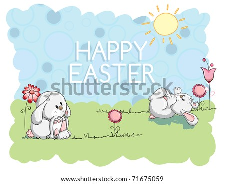 Easter greeting card - Bunnies playing - stock vector