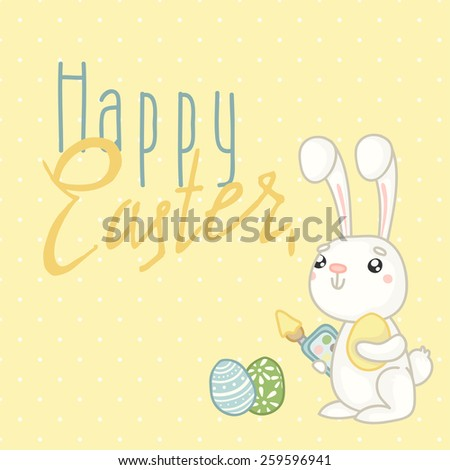 Easter greeting card - Bunny and easter eggs. Happy easter - stock vector