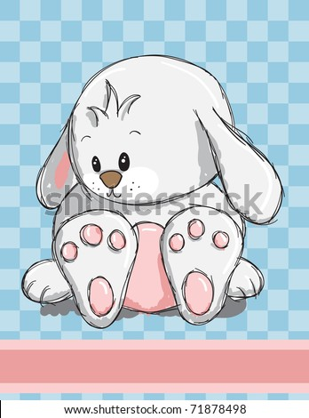Easter greeting card - Cute bunny - stock vector
