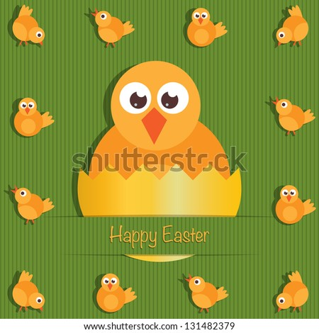easter greeting card decoration with easter chicks, eps 10 file with transparencies
