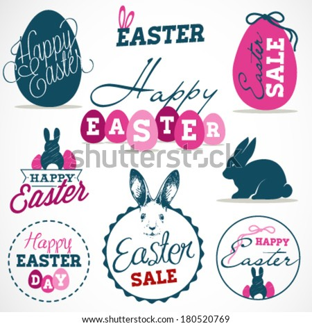 Easter Greeting Card Design Elements, Labels and Badges in Vintage Style. Vector Illustrations - stock vector