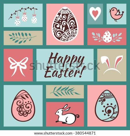Easter greeting card. Happy Easter. Easter egg. Vector illustration - stock vector