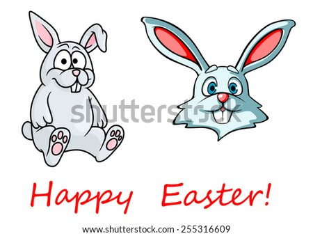 Easter greeting card showing sweet cartoon bunnies with long pink ears and cute little tail isolated on white background decorated red caption Happy Easter - stock vector