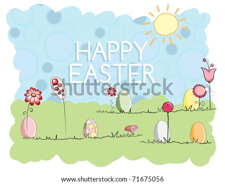 Easter greeting card - Small eggs - stock vector