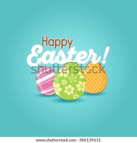 Easter Greeting Card with Colorful Easter Eggs  - stock vector