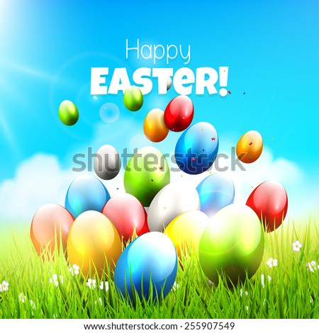 Easter greeting card with colorful eggs in the grass - stock vector