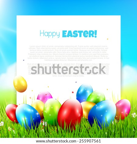 Easter greeting card with colorful eggs in the grass and with empty paper - stock vector