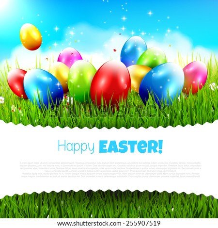 Easter greeting card with colorful eggs in the grass and with place for your text - stock vector