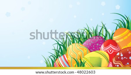 Easter greeting card with copy space - stock vector