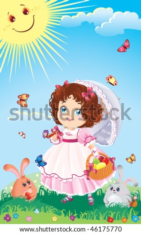 Easter greeting card with cute little girl on a walk - stock vector