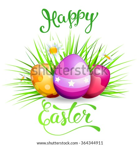 Easter greeting card with Easter eggs and original handwritten text Happy Easter. Vector illustration for posters, greeting cards, print and web projects. - stock vector