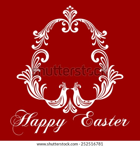 Easter Greeting Card with egg and birds. Vector illustration for your spring happy holiday design. White and dark  Red color.  - stock vector