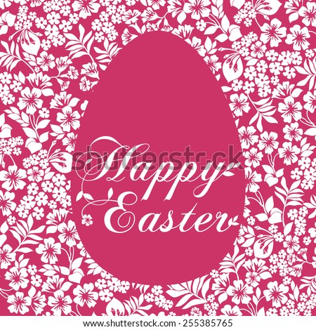 Easter Greeting Card with egg in flowers on white background. Vector illustration for your spring happy holiday design. White and Pink color.  - stock vector