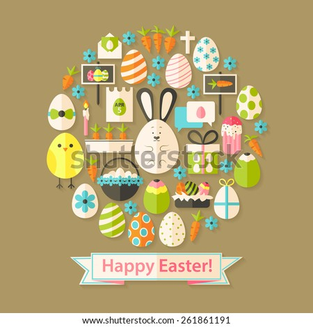 Easter Greeting Card with Flat Icons Set circular shaped. Greeting card Flat styled with shadows - stock vector