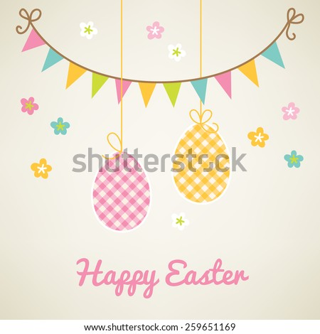 Easter greeting card with flowers, decorations and eggs - stock vector