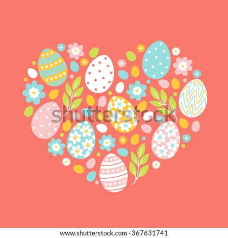 Easter greeting card with heart. Holiday eggs, flowers, branches, leaves.  - stock vector