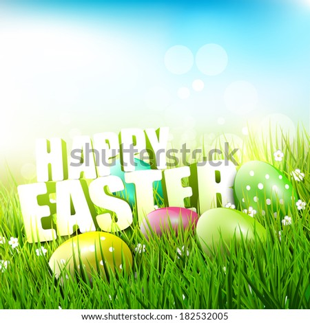 Easter greeting card with inscription in the grass - stock vector