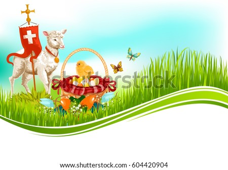 Easter Greeting Card With Passover Lamb Paschal Eggs In Wicker Basket Cross On Flag