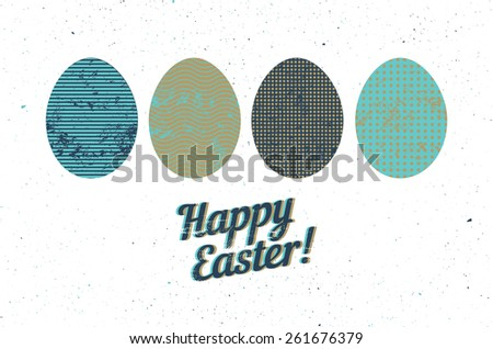 Easter greeting card with stylized ornamental eggs on white background in grunge style. Vector illustration. - stock vector