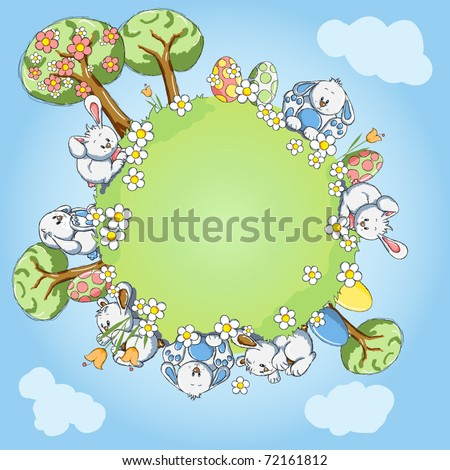 Easter greeting card - World of bunnies - Every object grouped for your easy use - stock vector