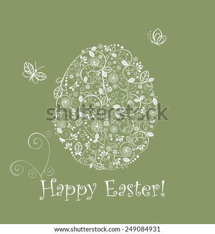 Easter greeting green card with lacy egg