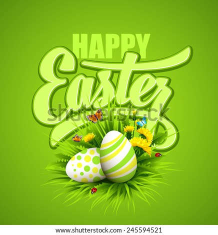 Easter greeting. Vector illustration - stock vector
